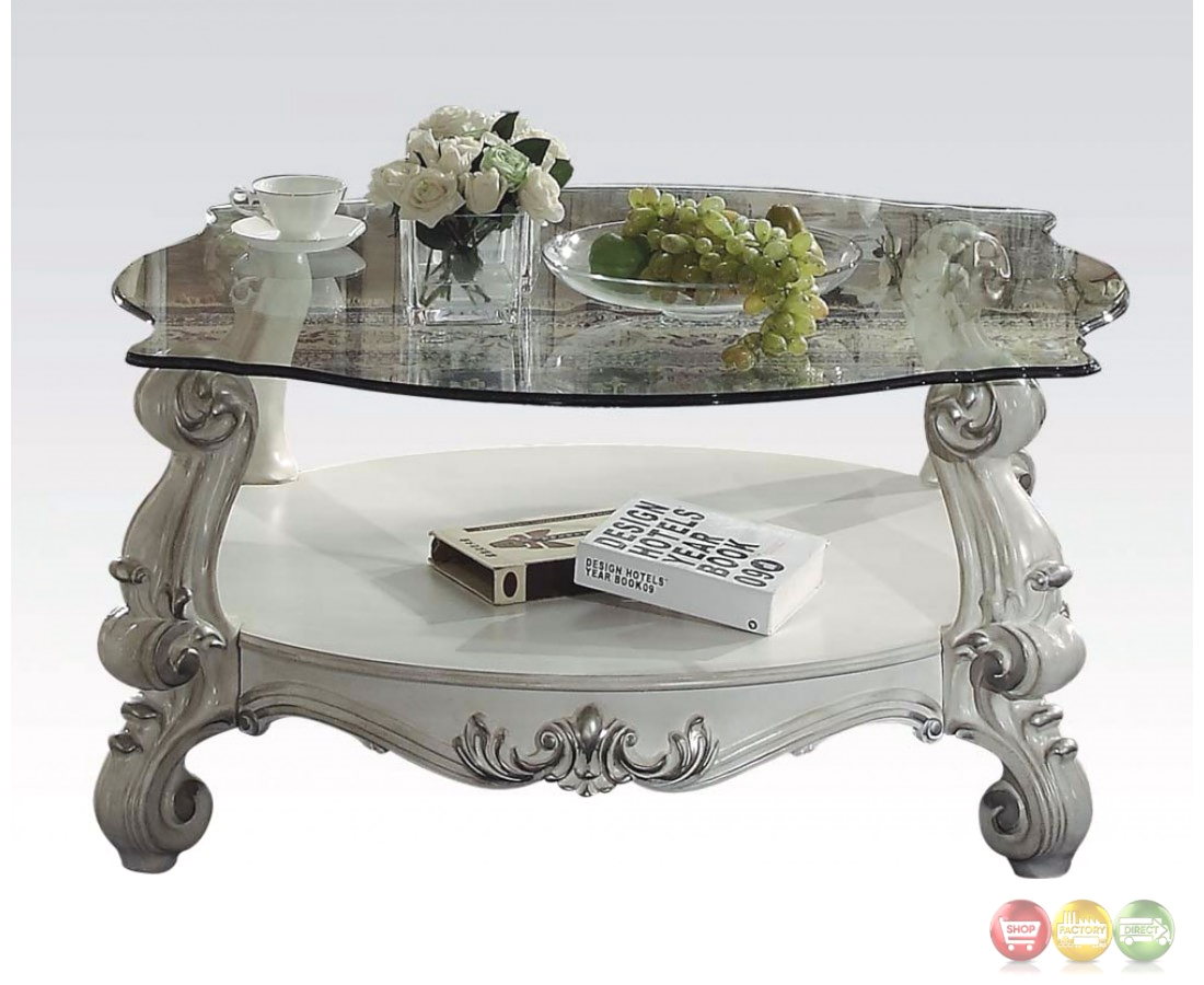 Versailles glass top round coffee table in vintage bone white for Round glass coffee table top
