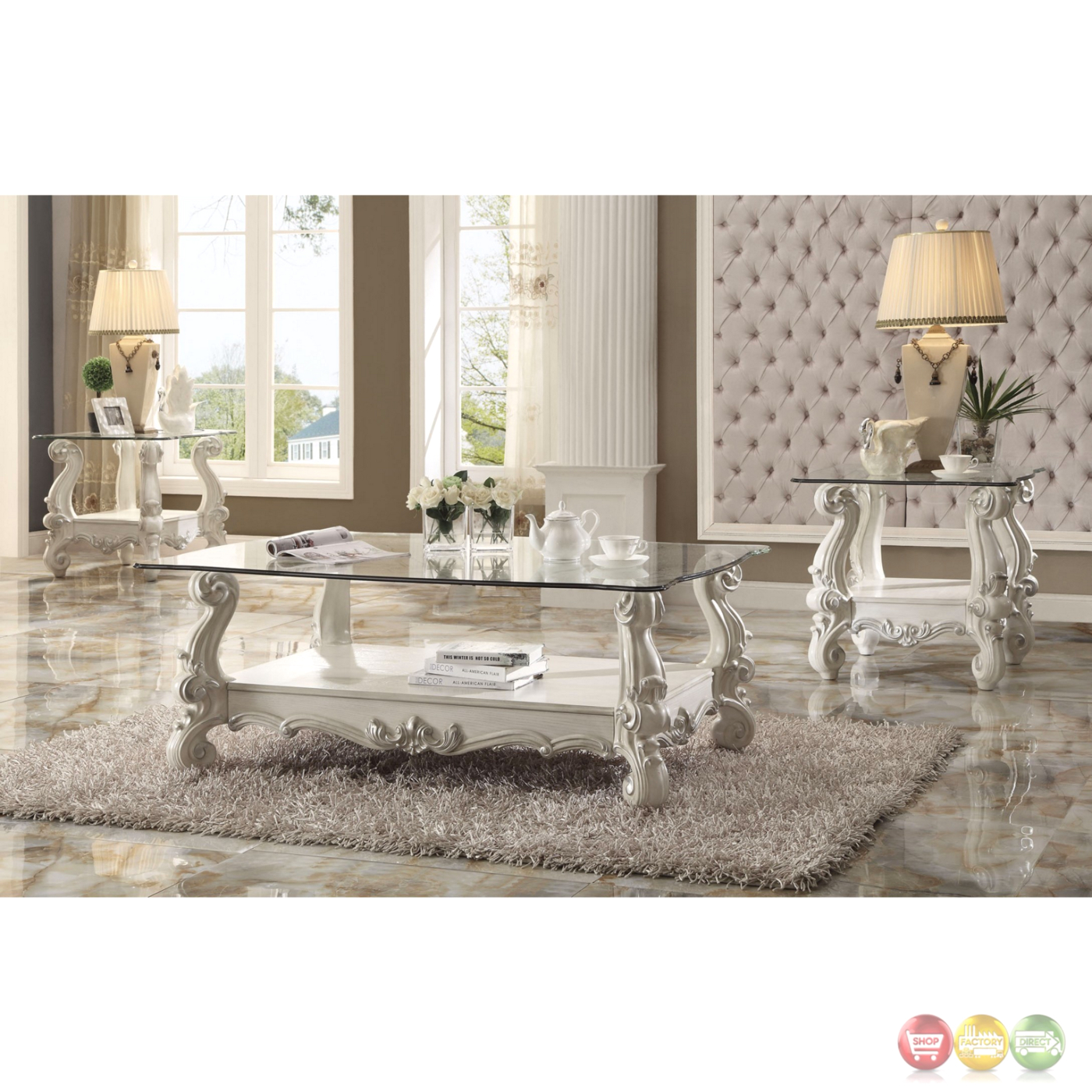 Versailles Square Coffee Table: Versailles Glass Top Ornate End Table In Vintage Bone White