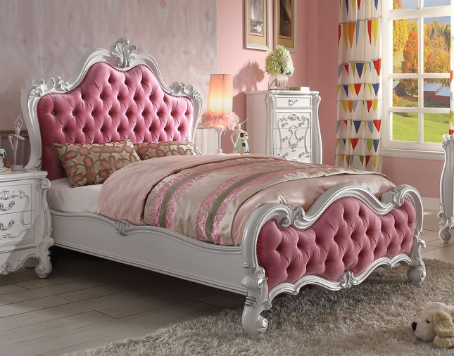 Versailles Kids Victorian Pink Upholstered Queen Bed W Antique White Finish