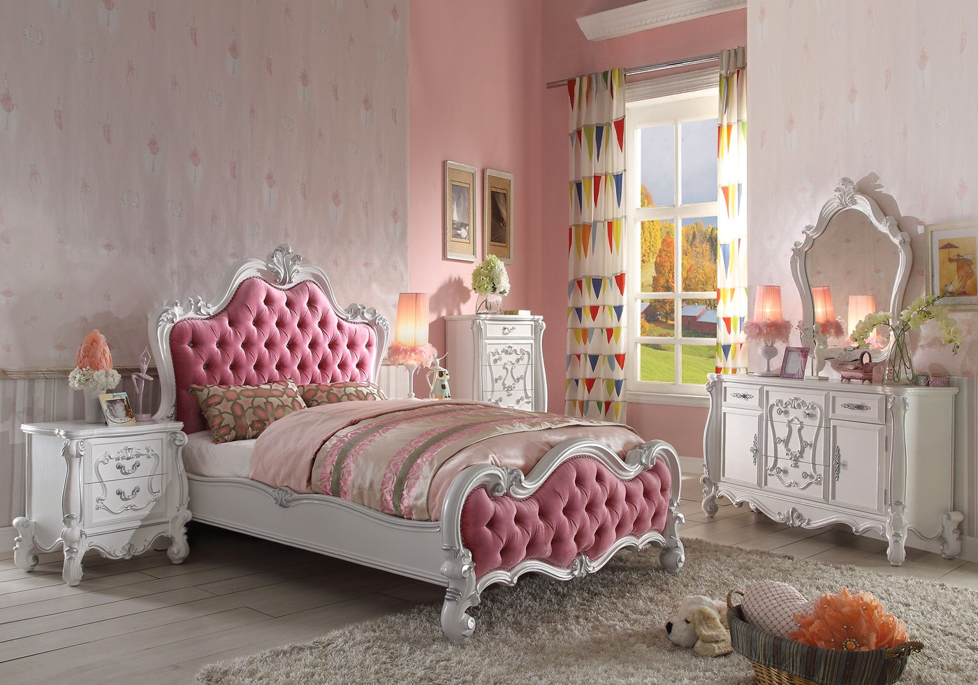Versailles Kids Victorian 4 Pc Pink Fabric Queen Bed Set W