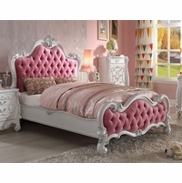 Versailles Kids Victorian Pink Upholstered Queen Bed w/ Antique White Finish