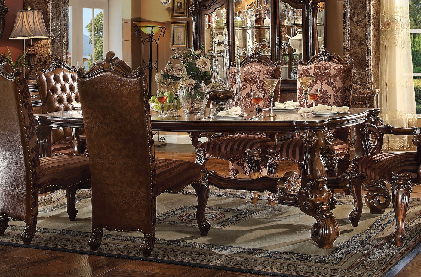Versailles Traditional 96 Quot Cherry Oak Scrolled Trim Dining