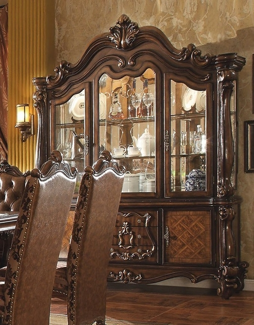 Versailles Traditional Antique Cherry Oak Scrolled Trim China Cabinet