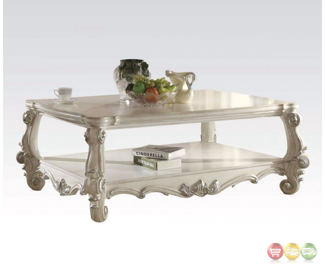Versailles traditional bone white wooden top rectangular coffee table White wood coffee table