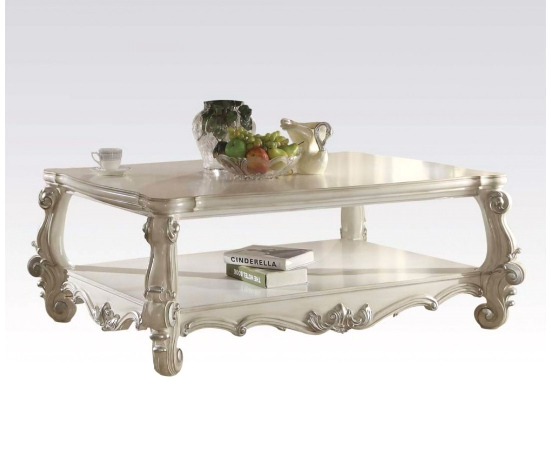 versailles traditional bone white wooden top rectangular coffee table. Black Bedroom Furniture Sets. Home Design Ideas