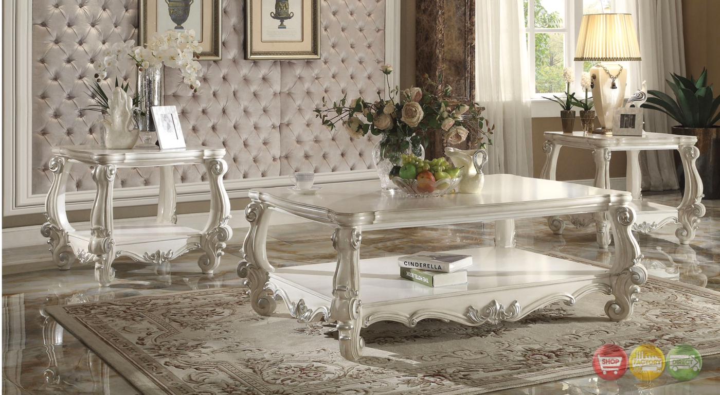 Versailles Traditional Bone White Wooden Top Rectangular