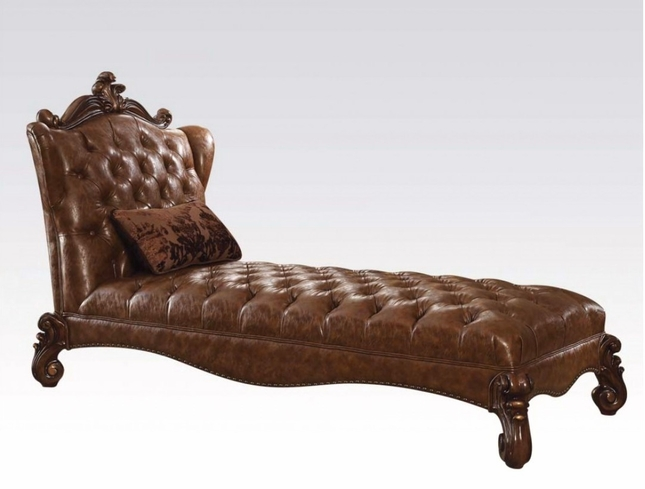 Versailles Traditional Button Tufted Cherry Oak Faux Leather Chaise