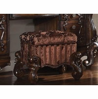 Versailles Traditional Button-tufted Cherry Oak Vanity Stool