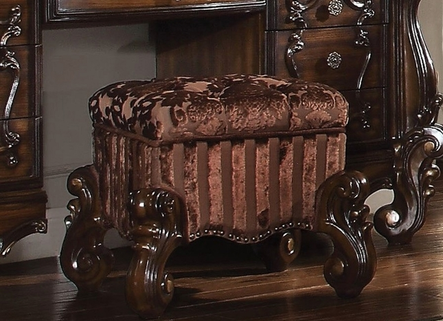 Magnificent Versailles Traditional Button Tufted Cherry Oak Vanity Stool Squirreltailoven Fun Painted Chair Ideas Images Squirreltailovenorg