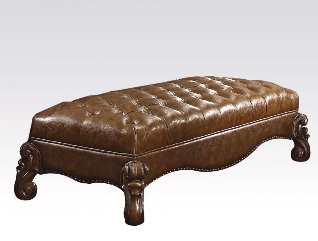 Versailles Traditional Button Tufted Light Brown Leather Bench