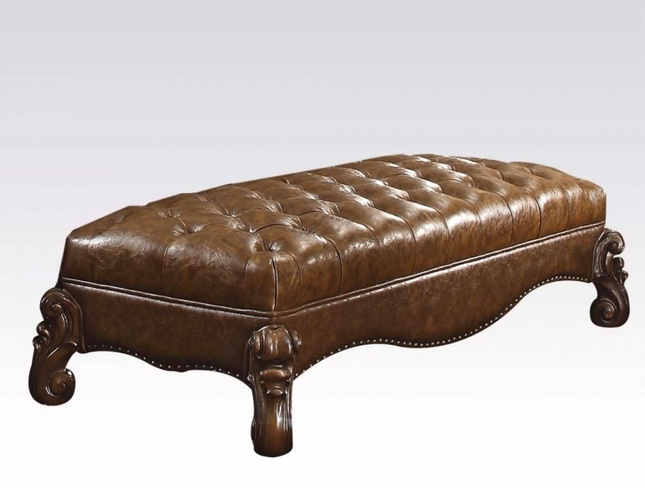 Versailles Traditional Button Tufted Light Brown Faux Leather Bench