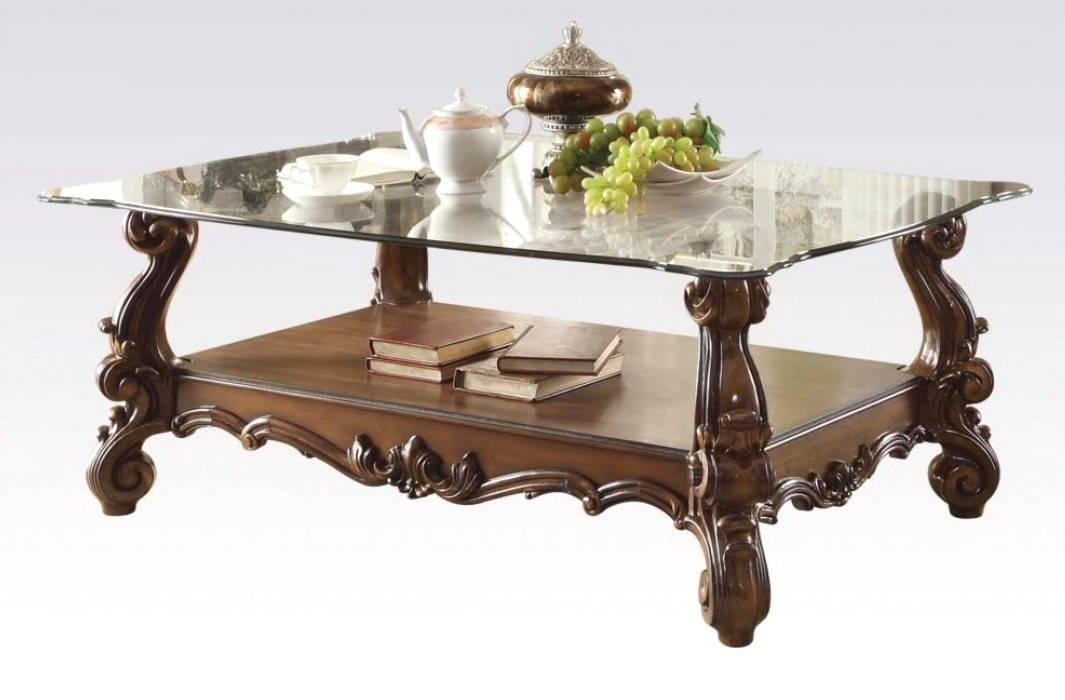 versailles traditional cherry oak rectangular glass top coffee table. Black Bedroom Furniture Sets. Home Design Ideas