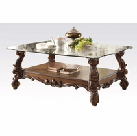 Versailles Traditional Cherry Oak Rectangular Glass Top Coffee Table