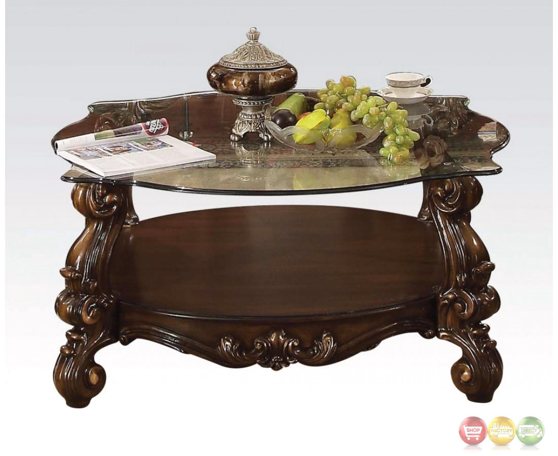 Versailles traditional cherry oak round glass top coffee table for Round glass coffee table top