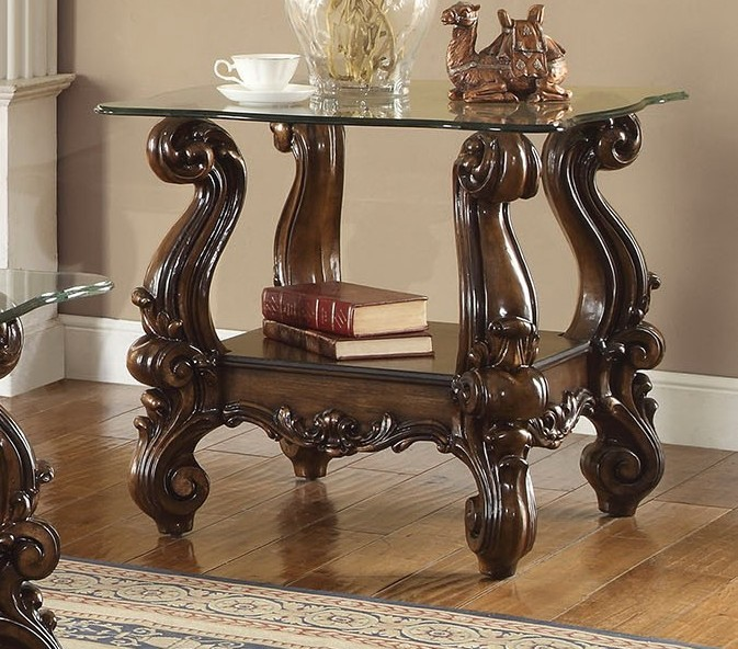 Versailles Square Coffee Table: Versailles Traditional Cherry Oak Square Glass Top End Table