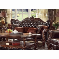 Versailles Victorian Formal Dark Brown Faux Leather Sofa With Carved Wood