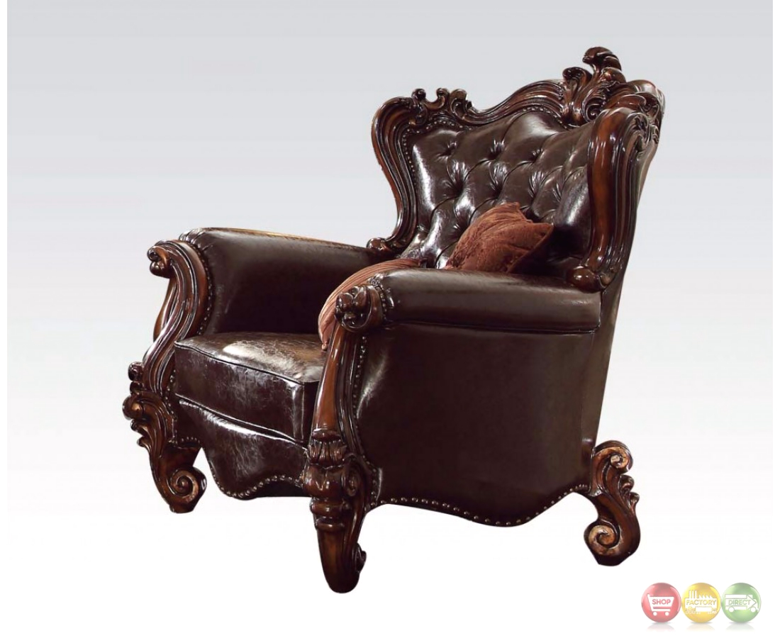 versailles victorian formal dark brown leather chair with carved wood. Black Bedroom Furniture Sets. Home Design Ideas