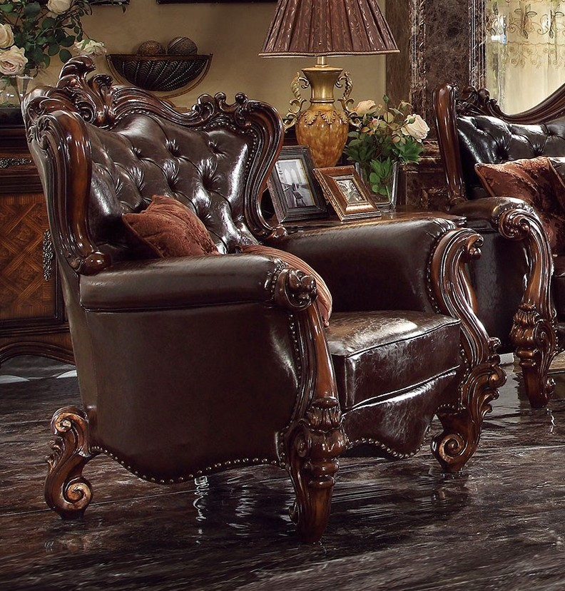 Versailles victorian formal dark brown leather chair with