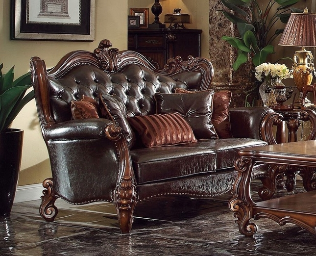 Versailles Victorian Formal Dark Brown Faux Leather Loveseat With Carved Wood