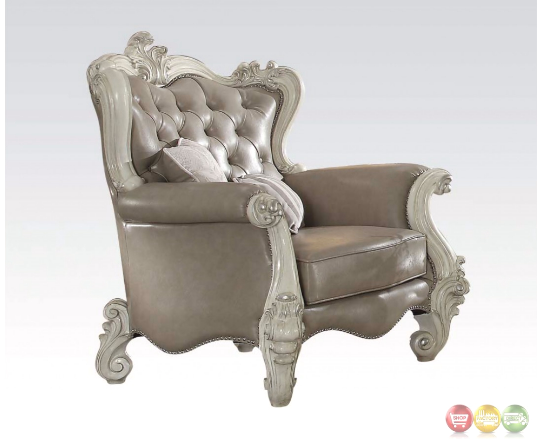 Versailles Vintage Grey Traditional Chair In Button Tufted