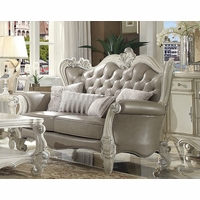 Versailles Vintage Grey Traditional Loveseat In Button Tufted Faux Leather