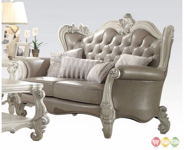 Versailles vintage grey traditional loveseat in button for Traditional tufted leather sofa