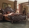 Versailles Wingback California King Bed In Dark Brown Tufted Faux Leather
