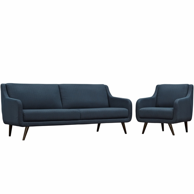 Mid-Century Modern Verve 2-pc Upholstered Sofa & Armchair Set, Azure