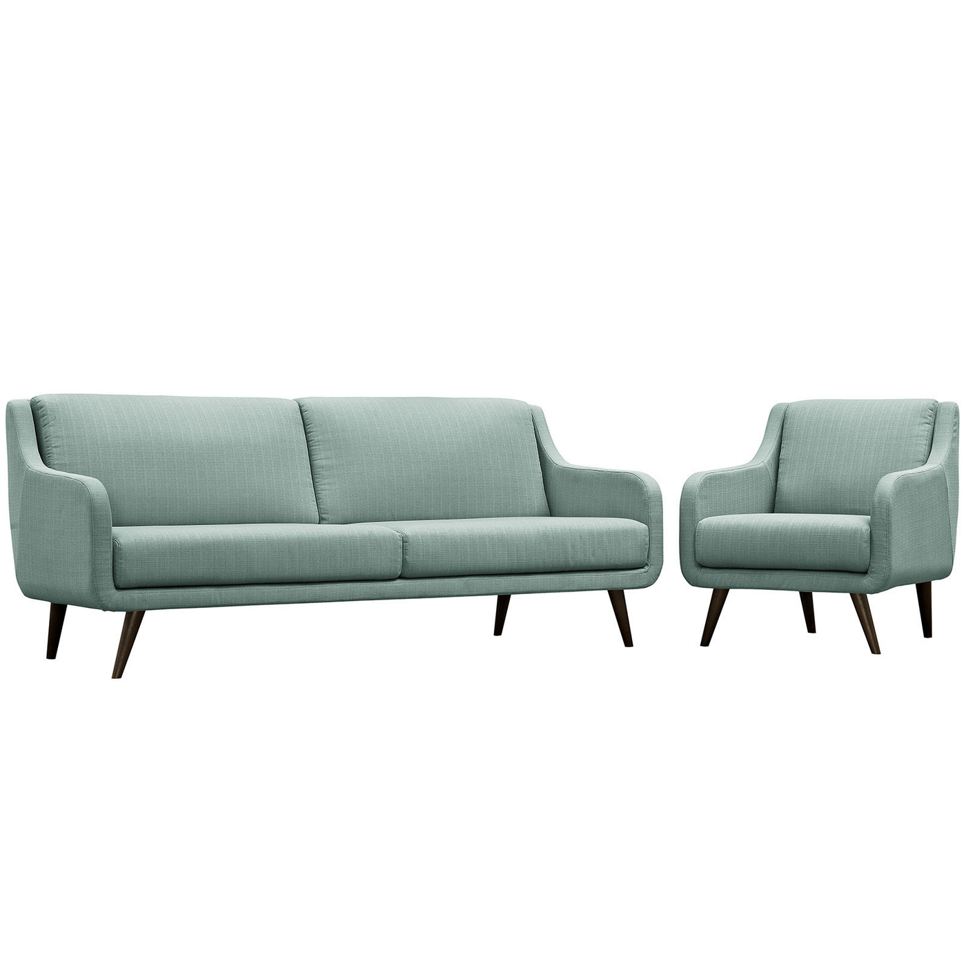Mid Century Modern Verve 2 Pc Upholstered Sofa Amp Armchair