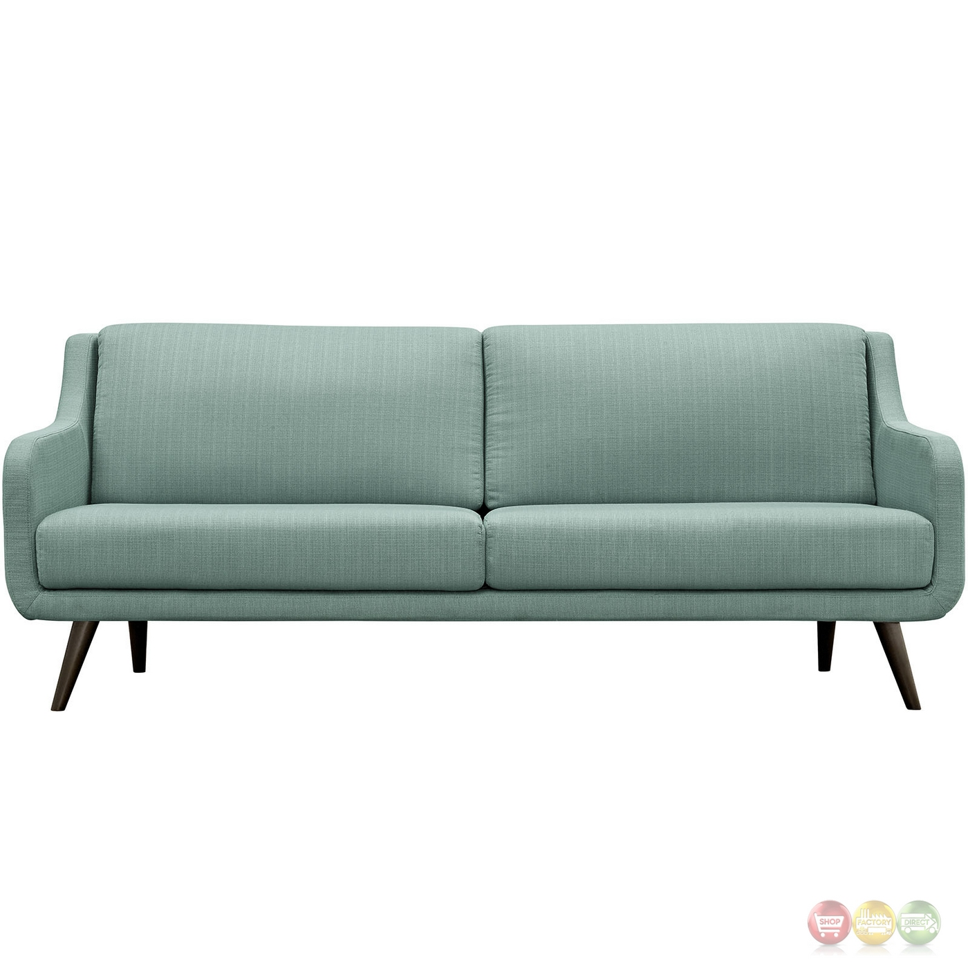 Mid century modern verve upholstered sofa with wood frame for Mid century modern upholstered chair