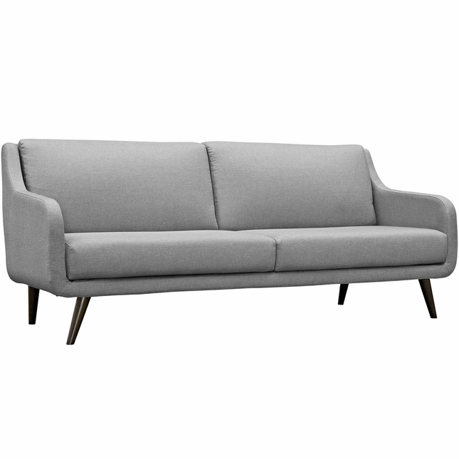 Mid Century Wood Sofa: Mid-Century Modern Verve Upholstered Sofa With Wood Frame