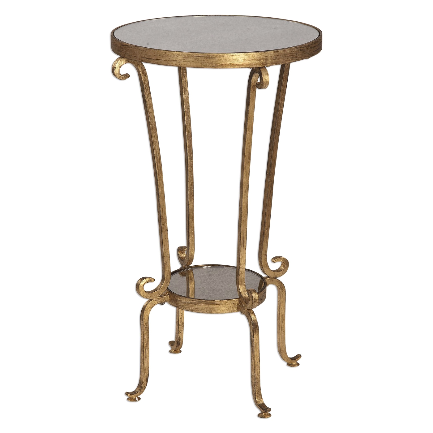 Vevina French Deco Curled Iron Accent Table In Antiqued