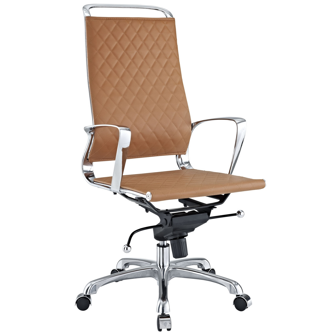 vibe modern high back leather adjustable office chair w chrome finish tan. Black Bedroom Furniture Sets. Home Design Ideas