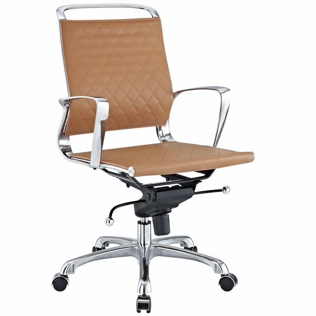 vibe modern mid back leather office chair with chrome frame tan