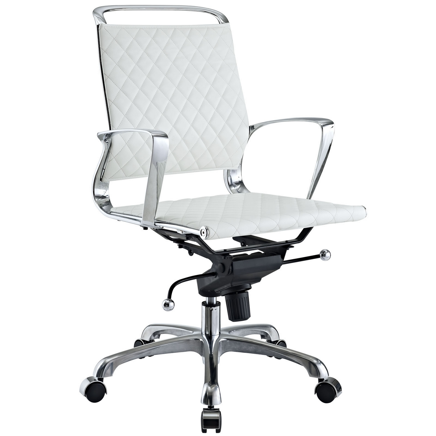 Vibe modern mid back leather office chair with chrome for Modern white office chair