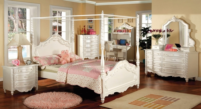 Victoria Fairy Tale Pearl White Bedroom Set with Vanity Jewelry Box ...