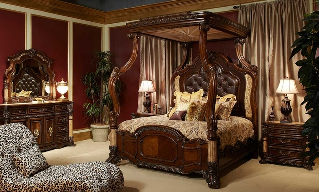 Michael Amini Victoria Palace Bedroom Set W Canopy Bed In Light Espresso By Aico
