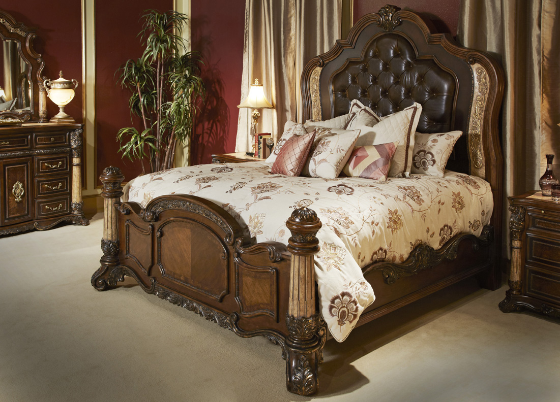 michael amini victoria palace bedroom set w panel bed in light espresso by aico