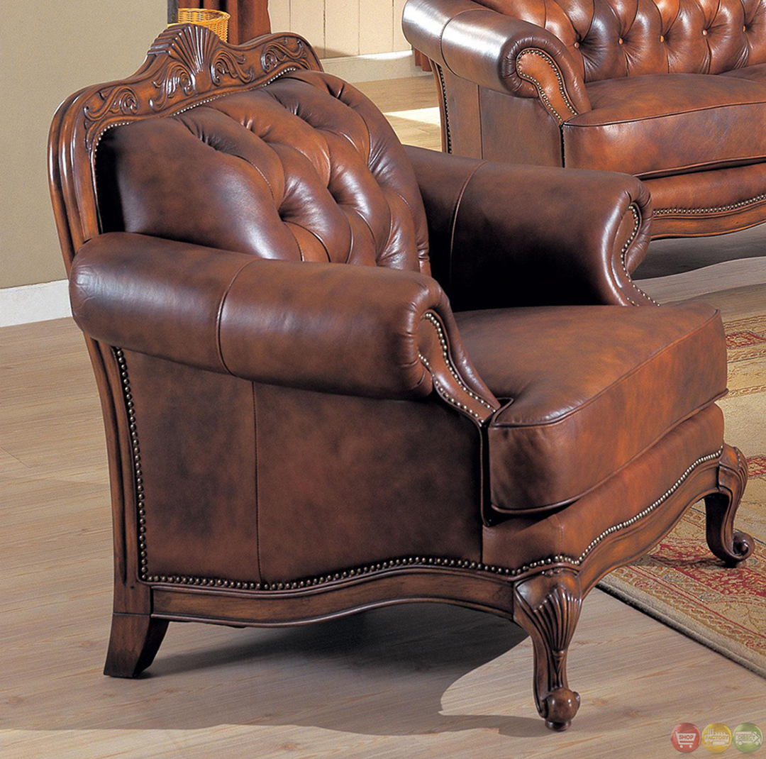 Victorian Leather Living Room Furniture: Victoria Stationary Traditional Living Room Furniture Set