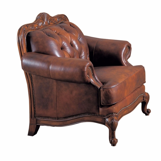 Victoria Traditional Button Tufted Genuine Leather Chair Carved Wood Frame