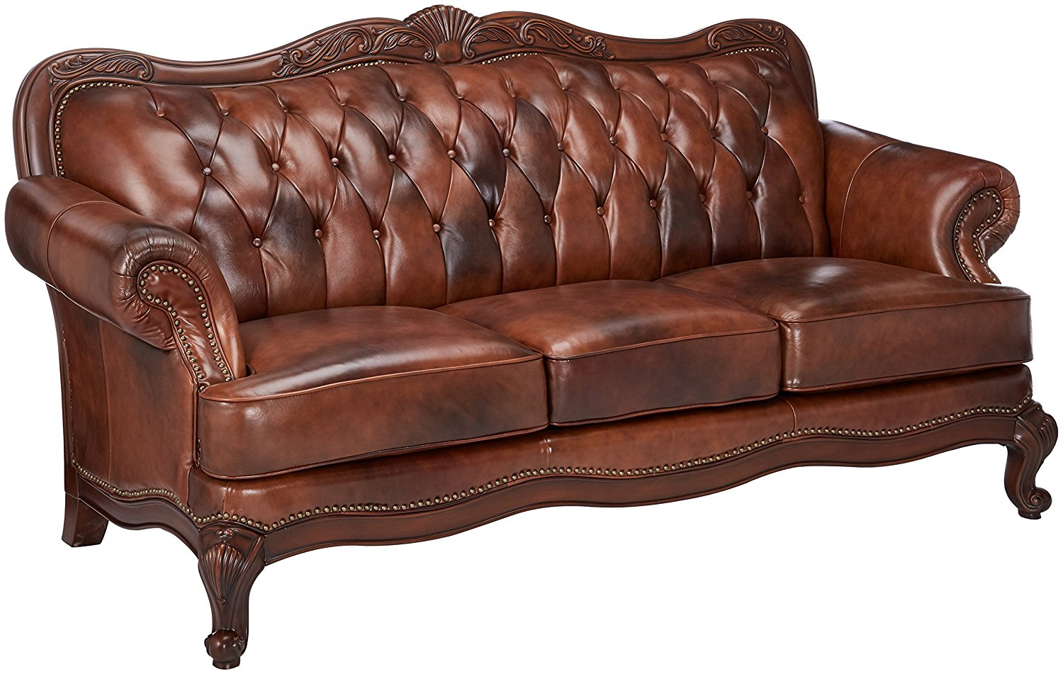 Victoria Brown Genuine Leather Button Tufted Sofa Carved
