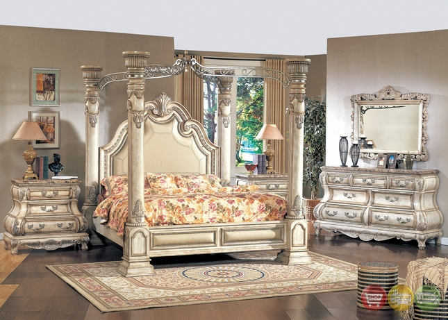 Victorian Inspired Antique White California King Poster Canopy Bed Traditional Bedroom Furniture Collection