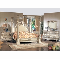 Victorian Inspired Antique White California King Poster Canopy Bedroom Furniture