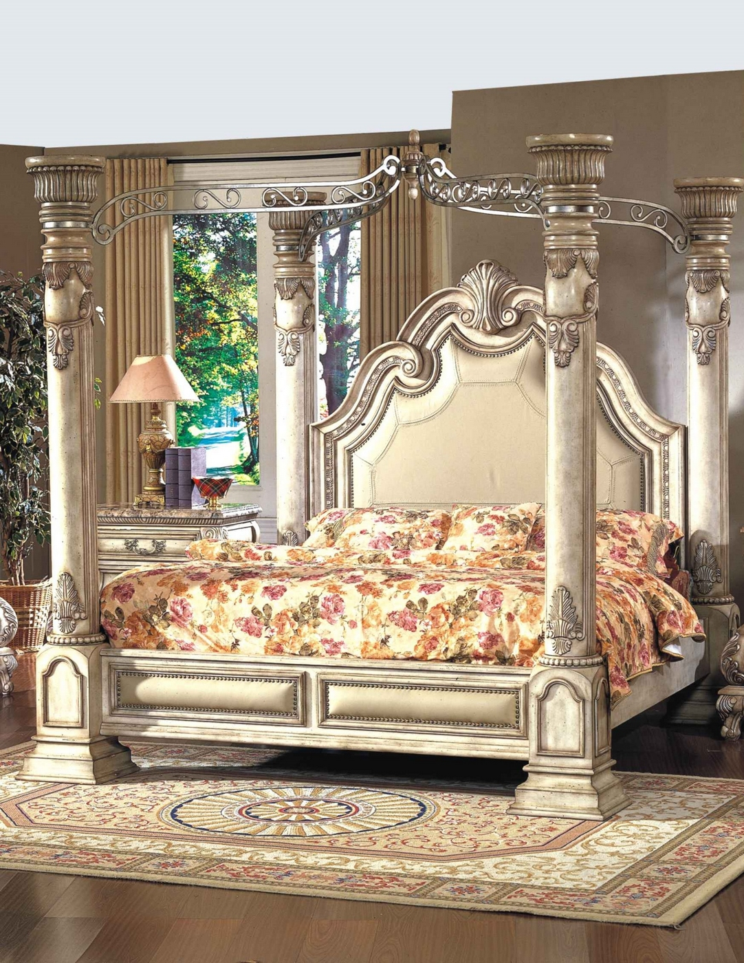 Victorian Style King Size Canopy Bed | Antique White ...