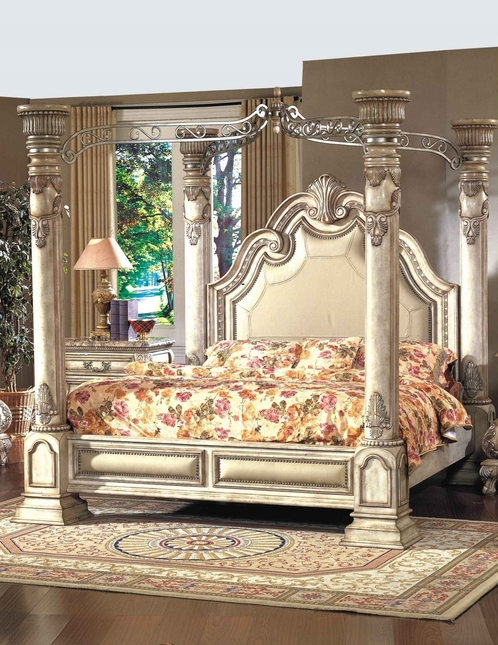Victorian Inspired Antique White Luxury King Poster Canopy Bed & Victorian Style King Size Canopy Bed | Antique White Canopy Bed