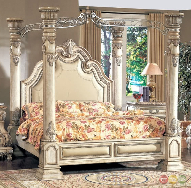 Inspired Antique White Luxury Queen Poster Canopy Bed