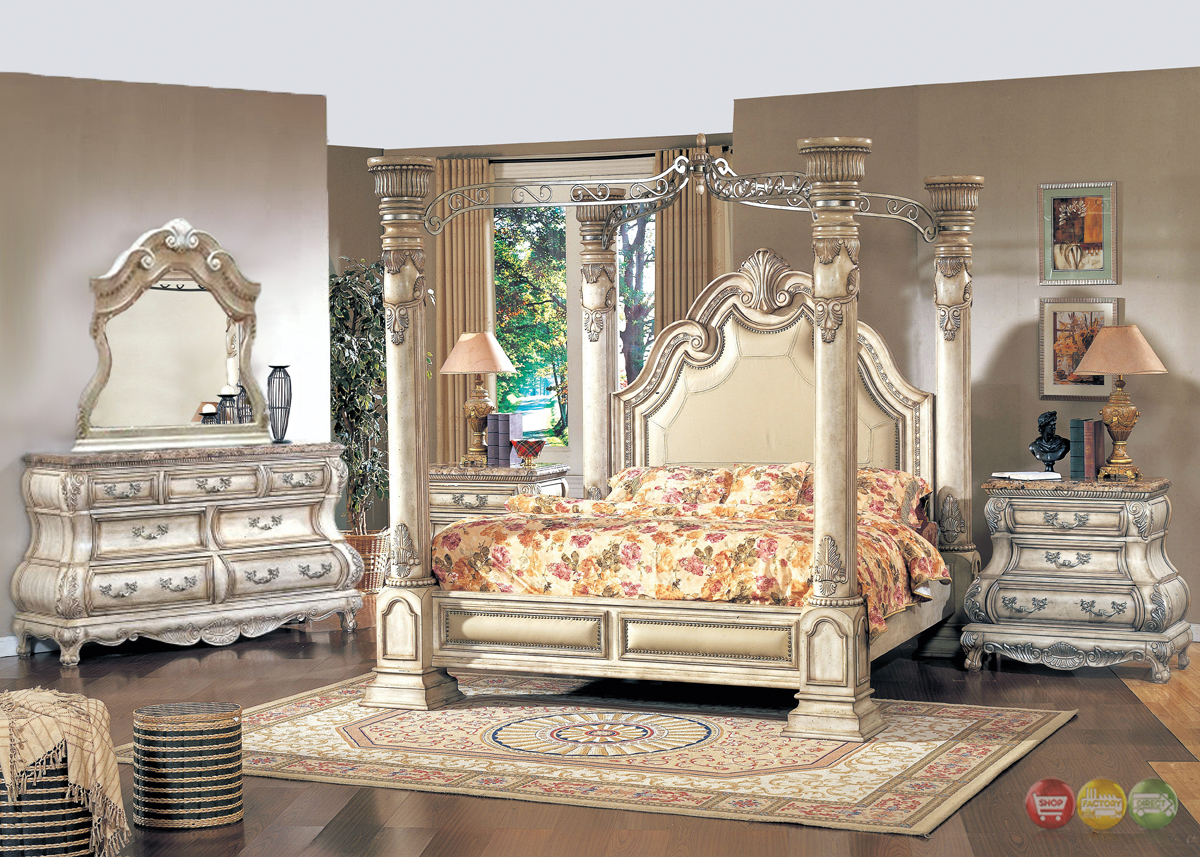 Victorian Inspired Traditional Poster Canopy Bedroom Set In Antique White