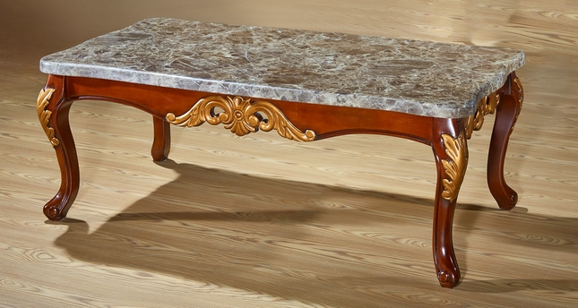 Vienna Traditional Grey Marble Top Coffee Table In Cherry W Silver - Grey marble top coffee table