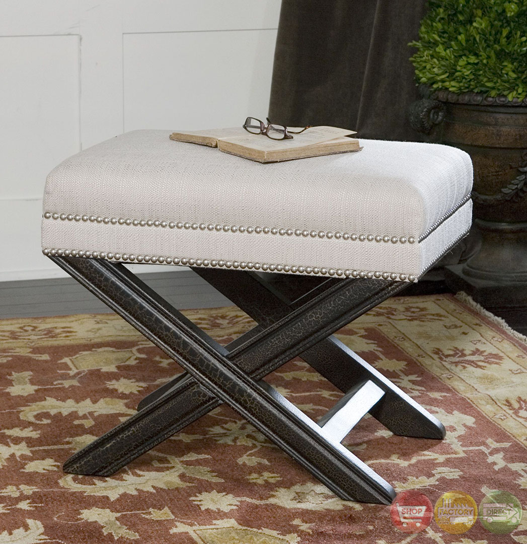 Viera Sandy White Fabric Upholstery Small Bench 23076