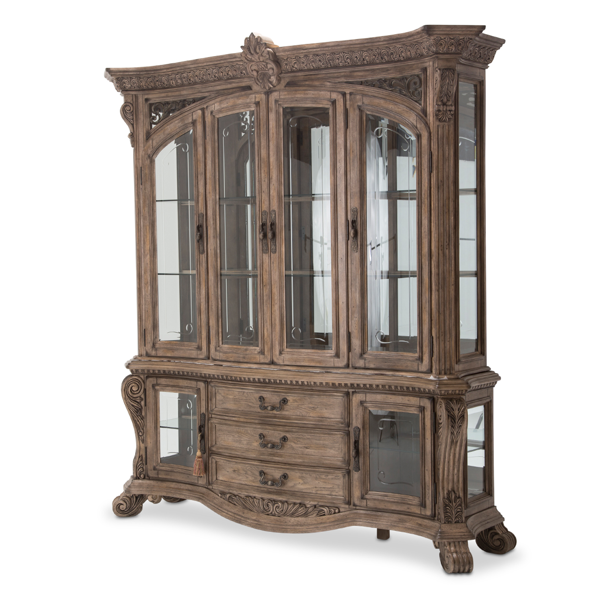 Villa Di Como Traditional 4 Door 3 Drawer China Cabinet In Heritage Finish